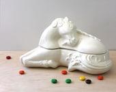 Vintage unicorn lidded ceramic box.