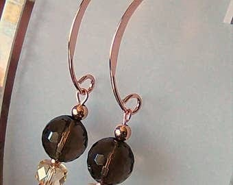 Genuine Smoky Quartz & Citrine Beaded Dangle Earrings in 14kt Rose Gold Filled, Cavalier Creations