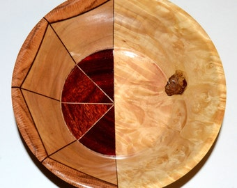 "50/50 Wood Bowl – ""Indecision"" – Unique Segmented and Solid Design"