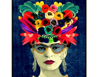 Frida Kahlo Sunglasses Poster Instant Digital Download Mexican Style Frida Kahlo Image Feather Headdress Frida Kahlo Portrait All Sizes Blue