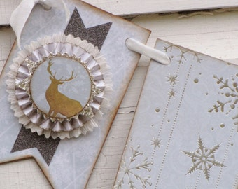 Vintage Christmas  Inspired PEACE Banner Garland Victorian Paper Rosettes Grey Blue Snowflakes Deer