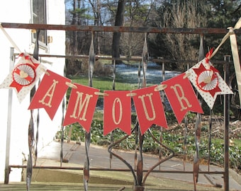 Vintage Inspired Valentine's Day AMOUR Banner Garland Victorian Paper Rosettes Gold Red Love
