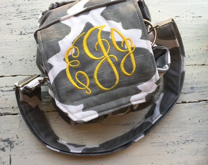 Grey Gray Monogrammed Personalized Padded Camera Bag Cannon Rebel 55mm