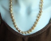 Pink Edison Baroque Pearl Hand Knotted Necklace, Golden Pink Freshwater Pearls, Kasumi Like, 10MM-11MM, Hand Knotted