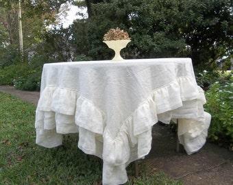 Double Ruffle Linen Tablecloth Ruffled Table Cloth Multi Ruffle Tablecloth Wedding Decorations 70x72