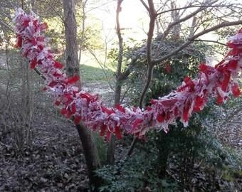Valentine Garland Raggedy Garland Red Hearts Pink Garland White Swag Banner Porch Decor Mantle Garland Valentine's Day Party