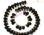 """55% OFF SALE 8"""" Strand 10x5 mm 52 Pcs Sparkling AAA Natural Black Spinel Faceted Teardrop Briolette Super Fine Cutting and Polishing Bs02"""