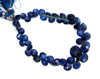 7 Inches - Rare Finest Quality Natural Deep Inky Blue Kyanite Faceted Heart Briolettes Size 5 - 8mm - Gemstone Briolette 03