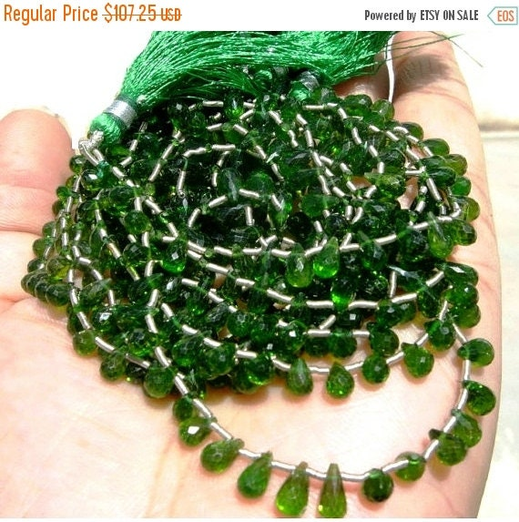 55% OFF SALE 1/2 strand - 7..5 Inches Finest Quality Genuine Chrome Diopside Faceted Tear Drop Briolettes Size 6 - 7mm approx