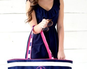 Preppy Stripe Extra Large Tote With Free Monogram