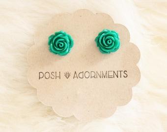 Irish Rose Green Floral Stud Earrings