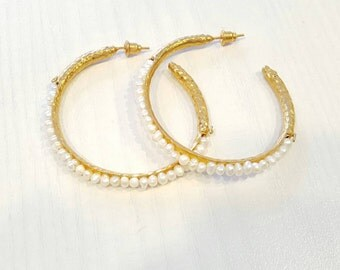 Large Pearl Hammered Gold Hoops