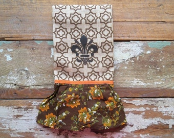 Frilly Fleur de Lis Silk-Screened Guest or Kitchen Towel with Ribbon and Ruffle Trim Burlap Style Woven Cotton Blend - Brown & Orange