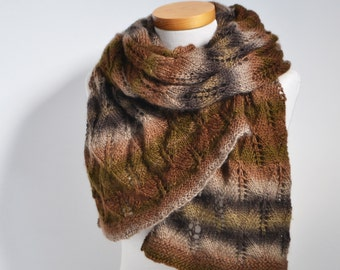 Lace knitted shawl, shades of brown,  P467