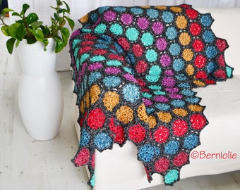 Crochet blanket, throw, home decor, Motifs, P429