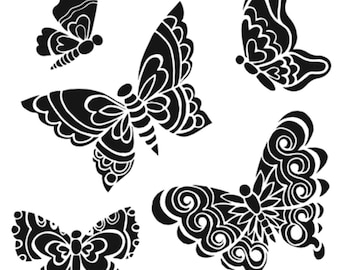 The Crafters Workshop Stencil - Solid Butterflies - 6 x 6 inches fnt