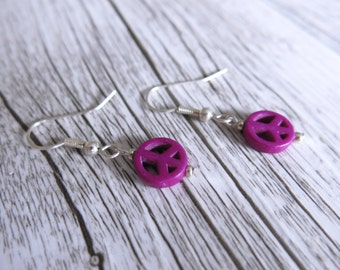 Peace Earrings Peace Sign Purple Howlite Earrings