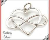 1 Sterling Silver Heart Pendant, Infinity Heart Pendant .925 Sterling 22mm ND26