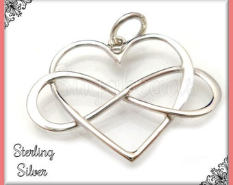 1 Sterling Silver Heart Pendant, Infinity Heart Pendant .925 Sterling 22mm ND26