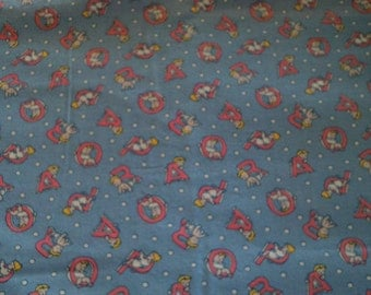 Childrens Quilt Fabric Alphabet on Blue Background