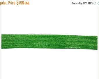 30% OFF SALE 5 YARDS 5/8 inches Fold Over Elastics Foe - choose One - Emerald