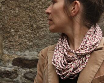 Fabric stripe multicolor Chevron collar/necklace