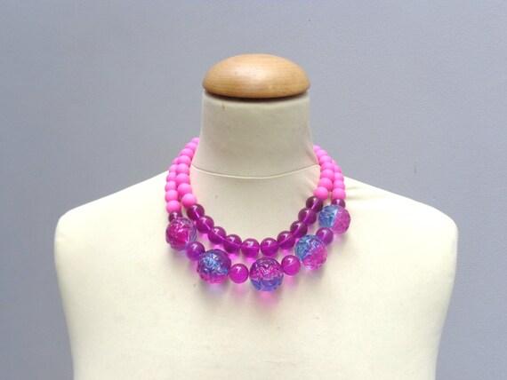 purple necklace statement double strand necklace pink purple necklace