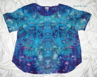 tie dye, xl ladies rayon scoop neck blouse, rayon by grateful dan dyes, inkblot ice dye