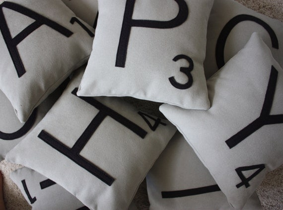 3 Scrabble Letter Pillows CASES ONLY // Monogram Pillows // Personalized Gift // Couples Pillows // Wedding Gift // Name Pillow // Initial