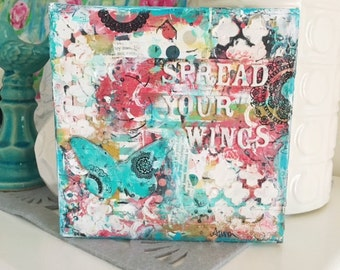 Butterfly Mixed Media Art, Collage Canvas, Spread Your Wings, Inspirational Wall Art, Birthday, Christmas Gift