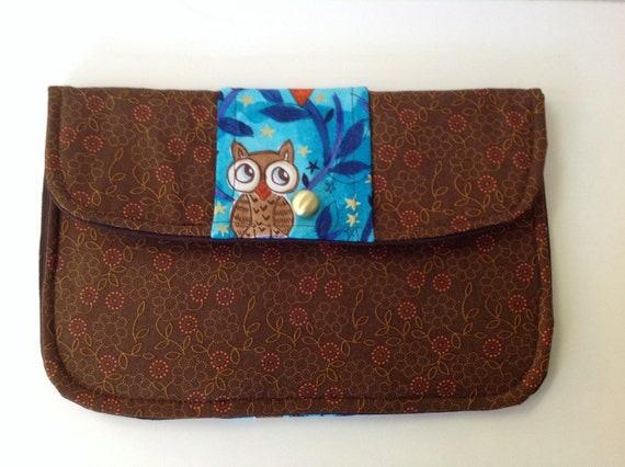 Clutch Purse Observant Owl Fall Floral in Blue and Brown