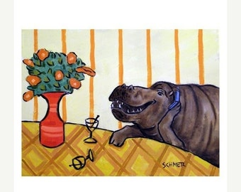 ON SALE Hippo at the Martini Bar with a Cell Phone Hippopotamus Art Print
