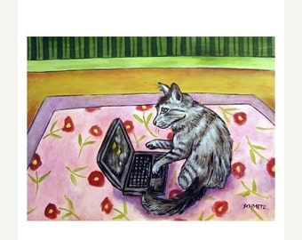 ON SALE Grey Cat Working on a Computer Art Print