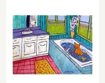Orange Tabby Cat Taking a Bath Animal Art Print