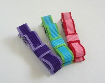 Sriped Clippie Set - Pink Purple Blue Tuxedo Bow No Slip Hair Clips