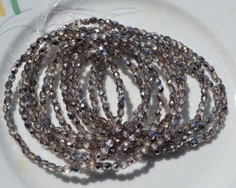 Dark Sand 4mm Faceted Fire Polish Mirror Czech Glass Beads  50