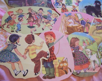 13 vintage children's book paper clippings