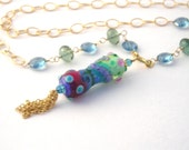 Gold Chain Necklace With Lampwork Pendant, 28 Inch, Green Tourmaline, Blue Topaz, Long Necklace