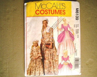McCalls Costumes 6139 Pattern Child Sizes 3 - 8 American Colonial Costume Centennial Revolutionary Reenactment Dress Gown Bonnet Drape