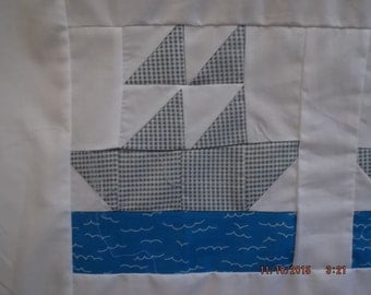 1  Little Sailor Boat Baby Quilt Top