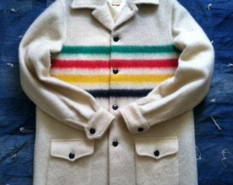 Vintage Hudson's Bay Striped Blanket Coat • Sz S