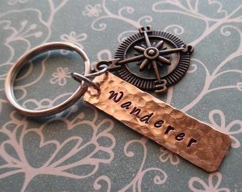 Wanderer Keychain - Wander Compass Those who Wander Key Chain - Wonder not lost Hikers Hiking Explorer Traveler  Keychain - K79
