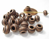 50% Off Beads, Metal Spacers, 20 pcs Antique Copper, 3mm Large Hole, fluted Rondelle Beads 5x7mm, Collar and Ribbed style MB1078 J16