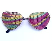 Colorful Psychedelic Graphic Festival Aviator Heart-Shaped Gold Sunglasses