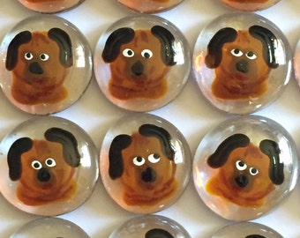 Dogs Hand painted glass gems party favors puppy puppies  dog dogs