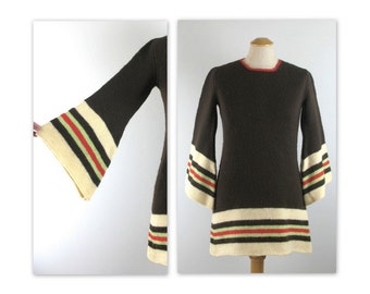 Vintage 60s Knit Mini Dress S with angel sleeves