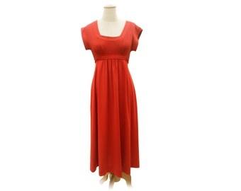 Vintage 70s Empire Waist Dress Burnt Orange Rust Colored Midi Dress Short Sleeve Disco Dress Stretch Knit Polyester Dress size Small Medium