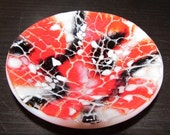 Fused Glass Mini Bowl: Red, Black, and White