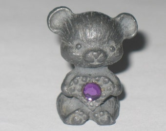 Miniature Pewter February Bear