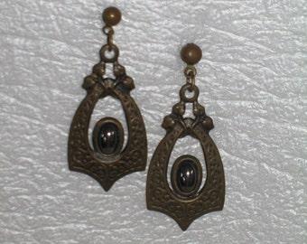 Vintage Hematite Goth Earrings
